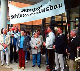 Demonstration gegen den Schleusenausbau