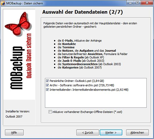 MOBackup - Outlook Datensicherung