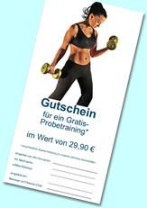 Gutschein für ein kostenloses Probetraining im Fitnessclub Sports and more, Wöllstein