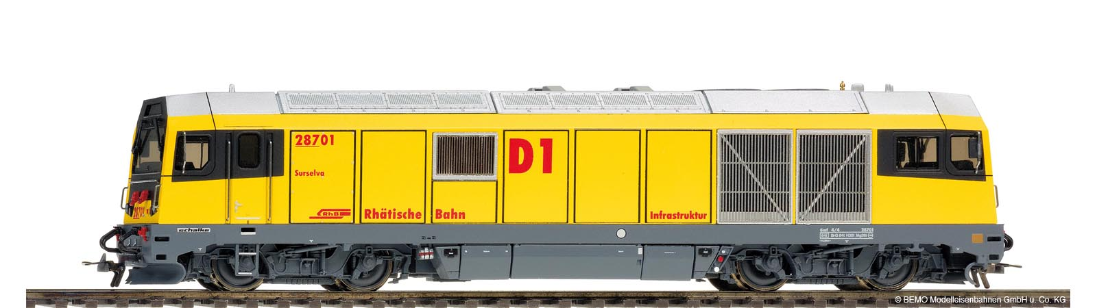 "Bemo 1388 101 - RhB Diesellokomotive, Gmf 287, D1, #01, ""Surselva"", digital mit Sound"