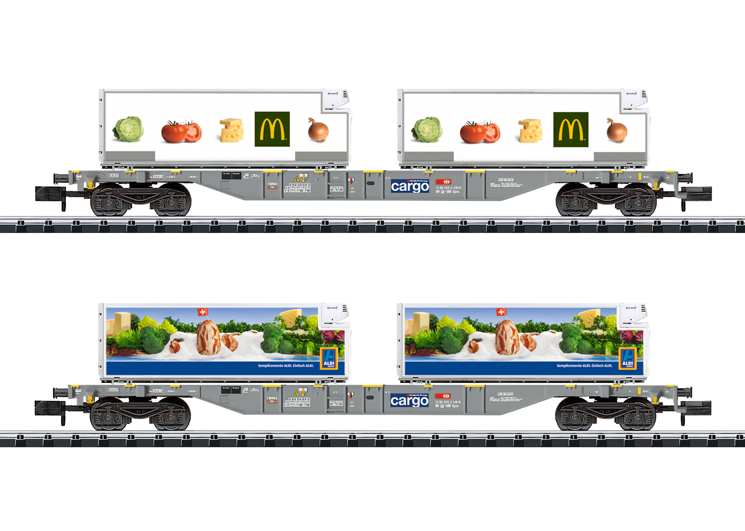 "Minitrix 15488, SBB Containertragwagen-Set ""Lebensmittel-Kühltransport"" (2x Sgns, McDonald's + Aldi)"