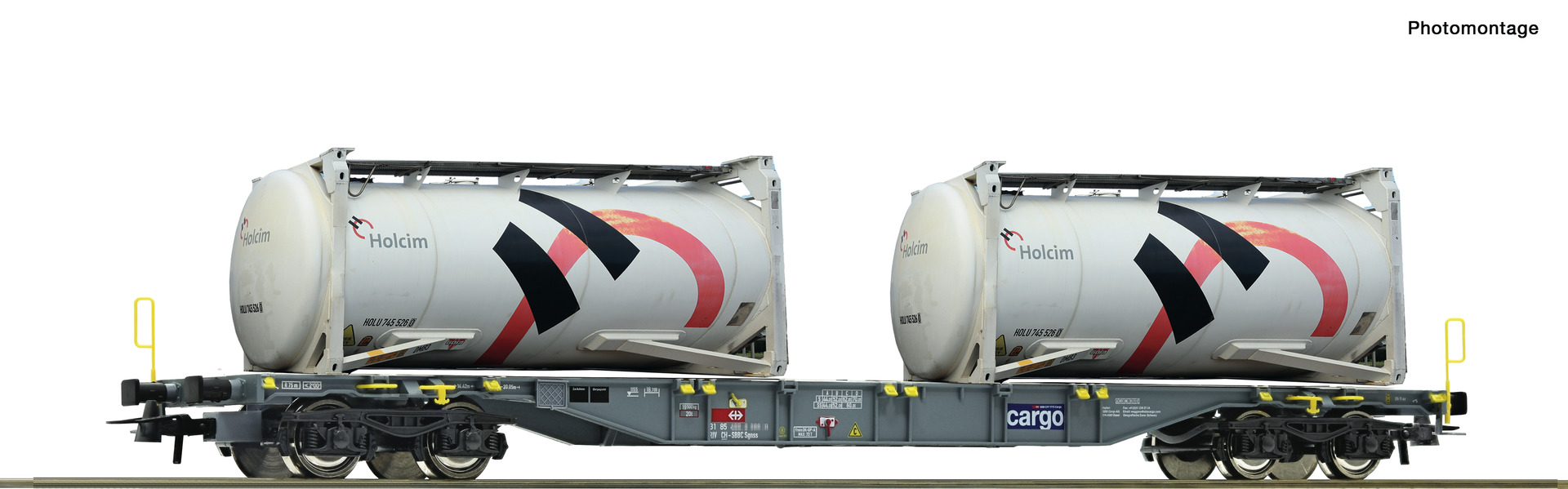 Roco 76943, SBB Containertragwagen, Sgnss, inkl. 2x HOLCIM-Tankcontainer, Ep. VI