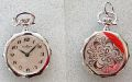 Pendent Watch, Rhodium, decor back, 25mm