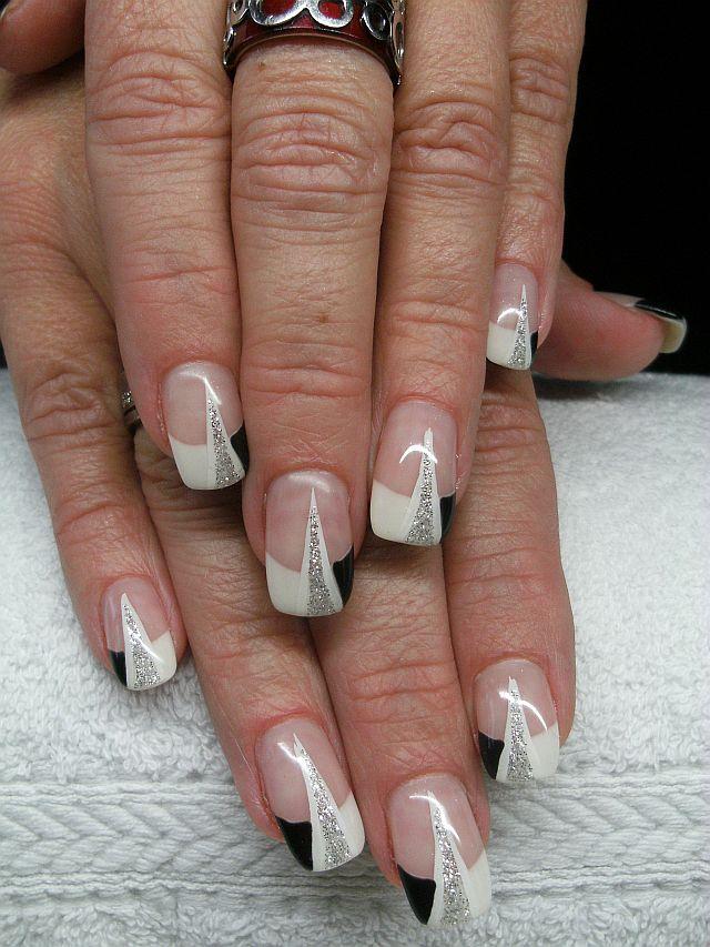 nailart schwarz wei glitter dream nails design in rheinfelden degerfelden. Black Bedroom Furniture Sets. Home Design Ideas