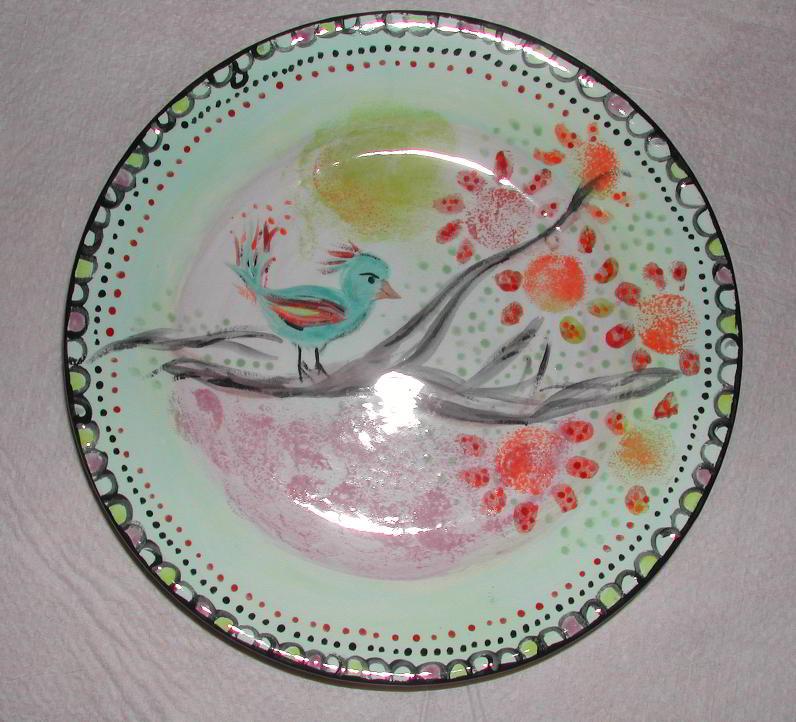 Gut bekannt Teller - Teller mit Motiv Vogel - Keramik selbst bemalen Made by ZI59