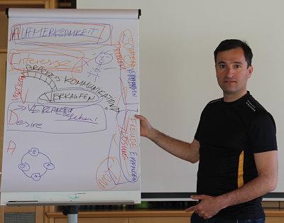 Alireza beim Vortrag über Neukunden gewinnen mit Storytelling