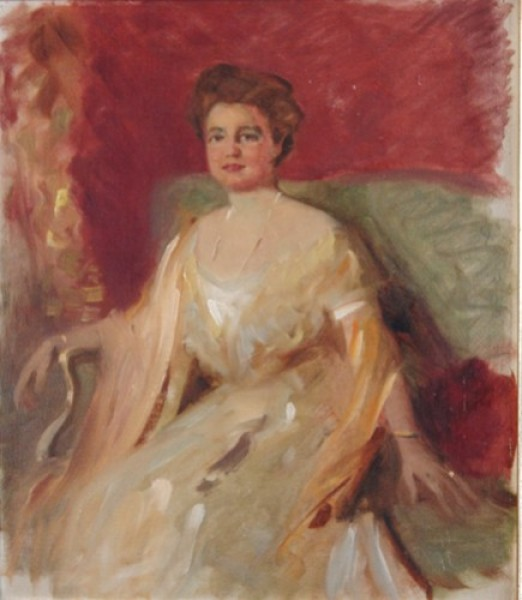 "4d Betty Heldrich, (1869-1958) ""Damenportrait"", Öl/Malplatte, 44x37 cm"