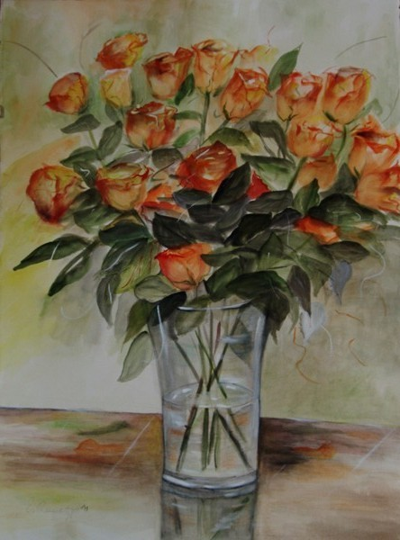 "xc4  ""Rosen-orange"", Aquarell 2011, 55 x 77 cm"
