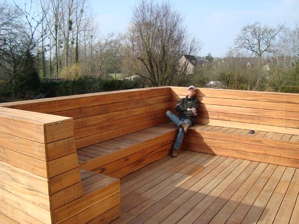 vert l 39 ouest paysagiste terrasse bois banc terrasse bois. Black Bedroom Furniture Sets. Home Design Ideas