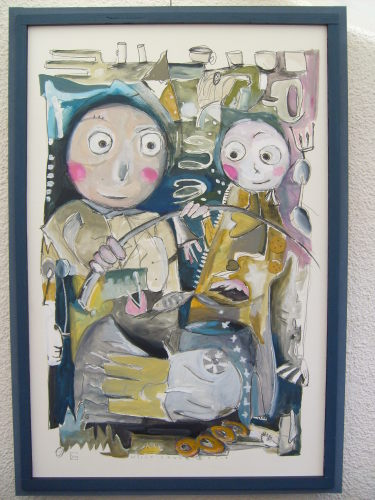 Personnages aquarelle, grand format 120 x 80 cm